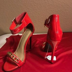 """*Sold* Forever Red patent leather 4 1/2"""" sandals"""